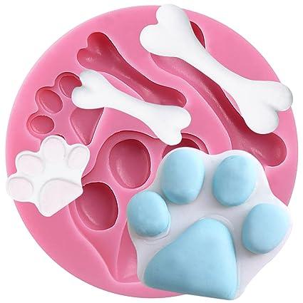 molde de silicona Forma Huellas de perro y Hueso para fondant Galleta - Sugarcraft Herramienta de