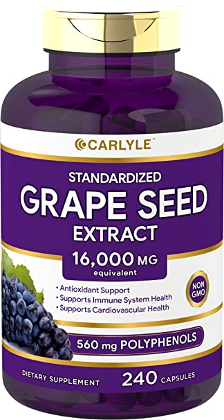 Amazon.com: Carlyle Grape Seed Extract 16,000 mg Equivalent 240 Capsules – Maximum Strength Standardized Extract | Non-GMO, Gluten Free: Health & Personal ...