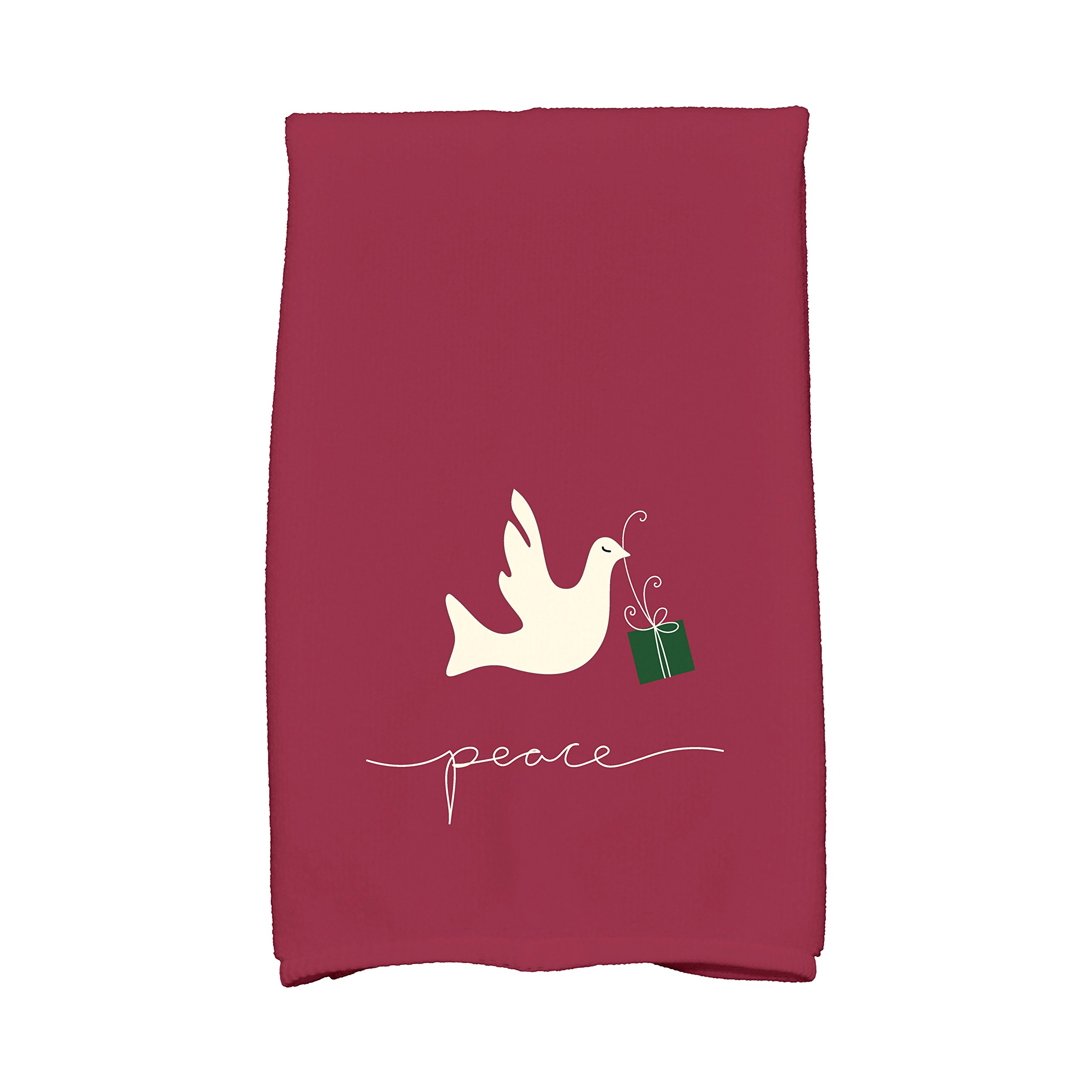 E by design KTHAN636RE6 Peace Dove Holiday Animal Print Kitchen Towel, 16'' x 25'', Cranberry