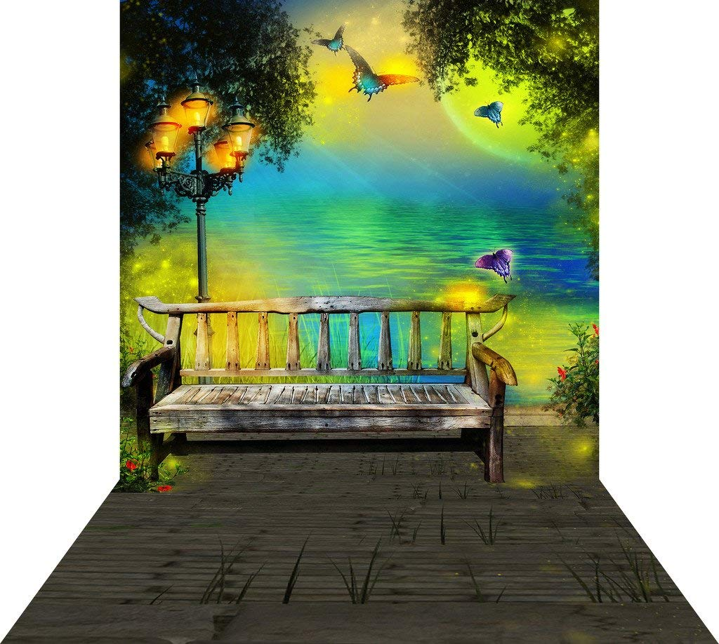 SZZWY ドリームテーマ リバーサイドベンチ 10X15フィート(300X450CM) 絵画用布 カスタマイズ写真背景 スタジオ小道具 GQ84   B07MDL532Z