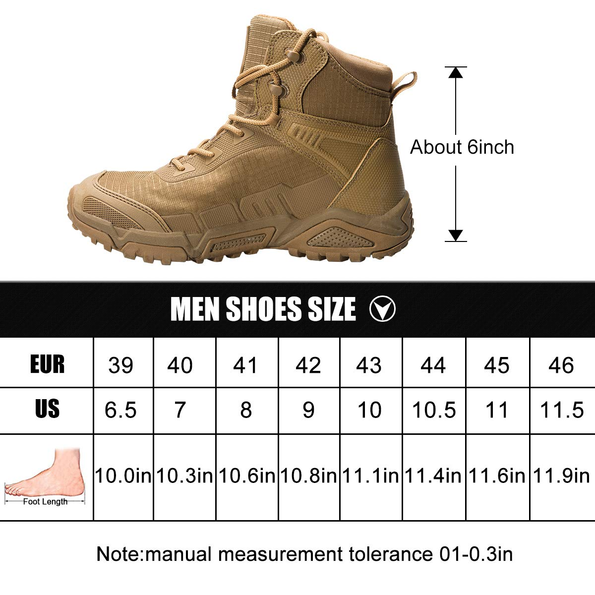 dc35ff54ce5 FREE SOLDIER Men's Tactical Boots 6