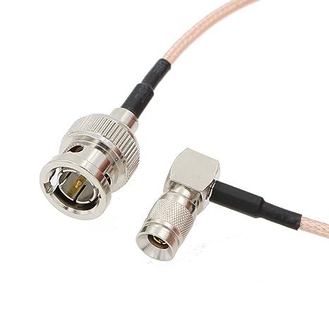 Alvins Cables DIN 1.0/2.3 Mini BNC en ángulo Recto a BNC Macho 75ohm RG179