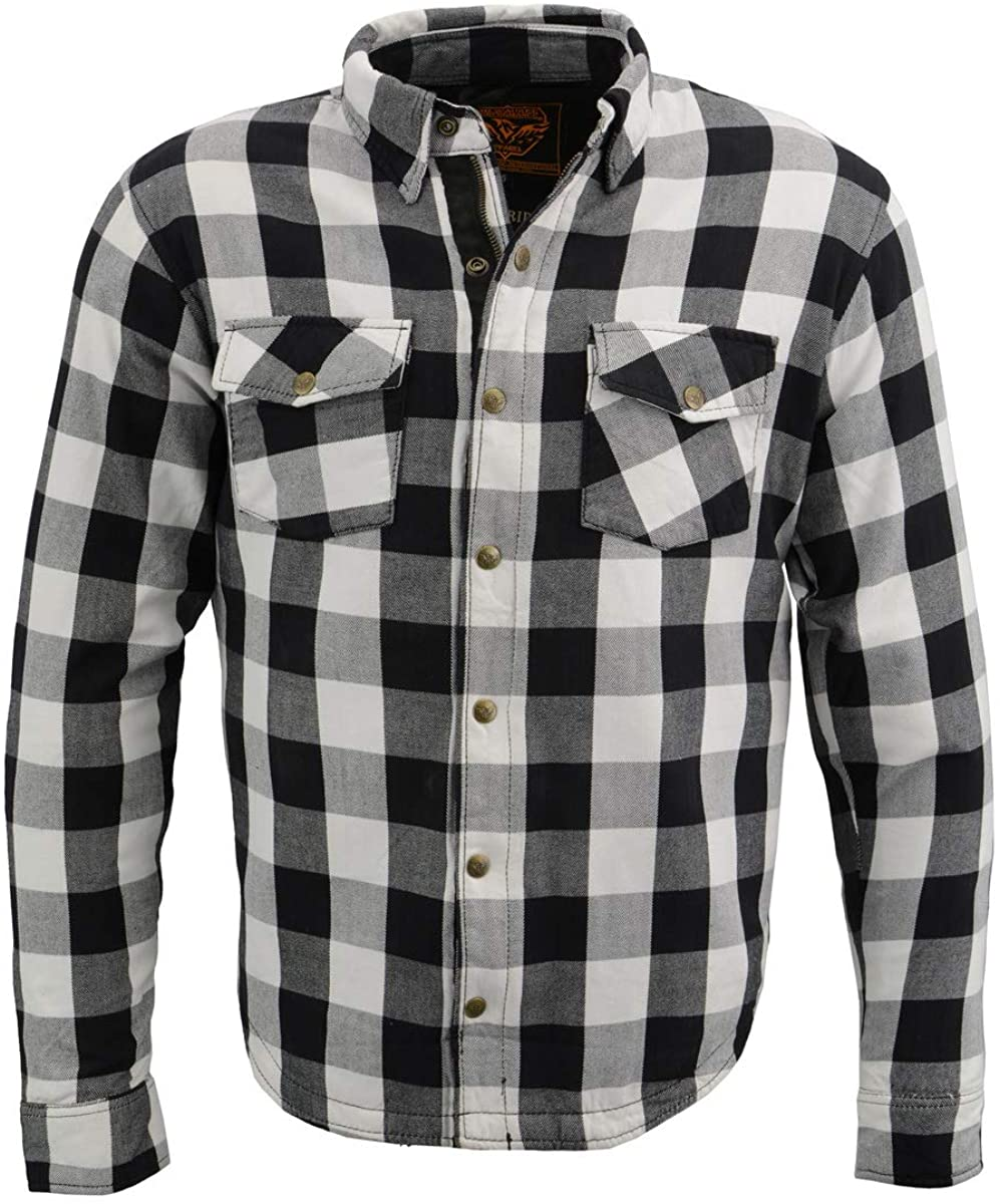 Milwaukee Leather MPM1633 Men's Armored Checkered Flannel Biker Oklahoma City Mall Selling