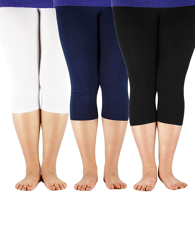 dfd120955c821 Zando Plus Size Capris Leggings for Women 3 4 Length Flexible Soft Bamboo  Solid Sport Legging Pants at Amazon Women s Clothing store