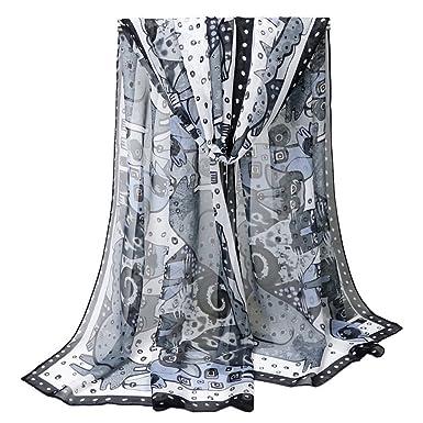 8d2bfba4ccdf YiyiLai Echarpe Animaux Imprimé Femme Mousseline de Soie Foulard Long Châle  de Plage Eté Noir Blanc  Amazon.fr  Vêtements et accessoires
