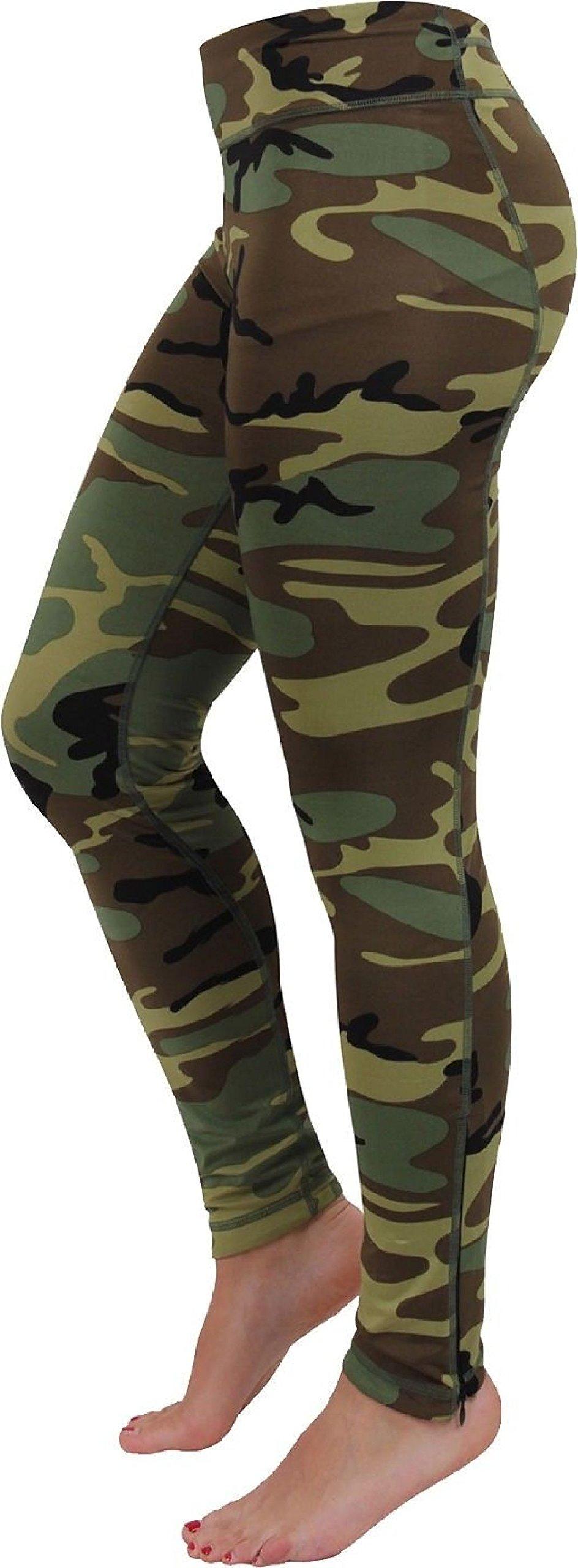 Womens Woodland Camouflage Performance Spandex Leggings