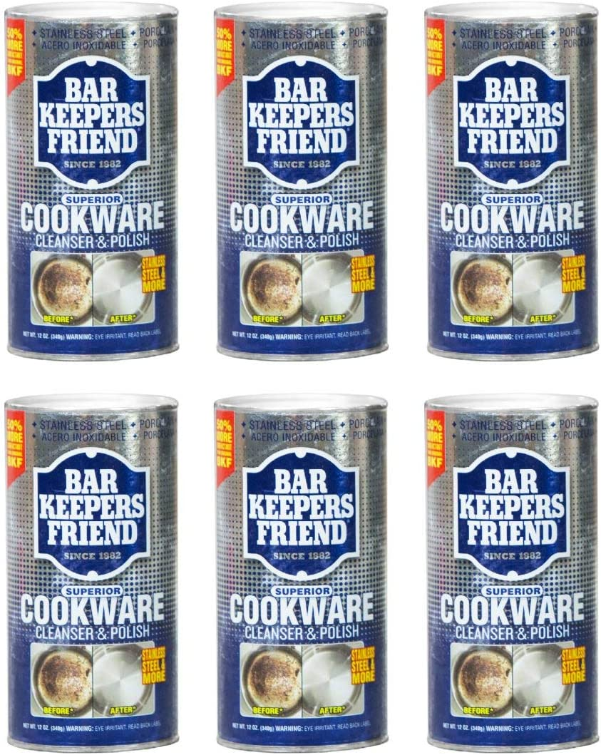 Bar Keepers Friend Cookware Cleanser & Polish (12 oz) - Cleaner, Degreaser & Stain-Remover - for Use on Stainless Steel and Copper Pots, Pans and Utensils, Glass Casserole Dishes and More (6)