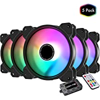 EZDIY-FAB 120mm RGB LED Case Fan for PC Cases, CPU Cooling Fan, Water Cooling Fan, Addressable RGB Case Fan with Controller- 5 Pack