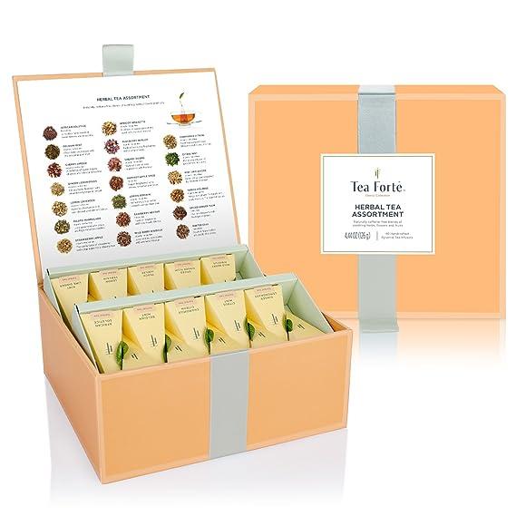 Caja de Té Herbal Surtido de Degustación 40 infusores de Té con Forma de Pirámide Hechos