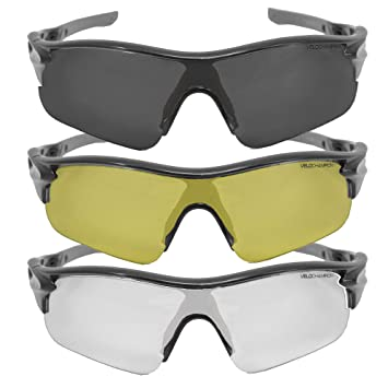 VeloChampion Warp Gafas de Sol (con 3 lentes: inc ahumado, claro) Plateado Silver Sunglasses