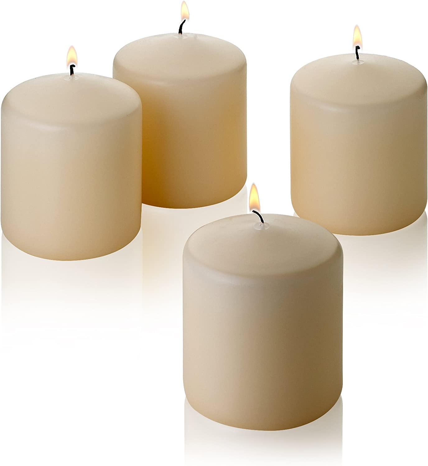 """Light In The Dark French Vanilla Pillar Scented Candles 3"""" Tall X 3"""" Wide Set of 4"""