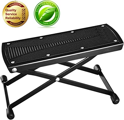 Folding Acoustic Electric Guitar Foot Rest Stool Black Lightweight