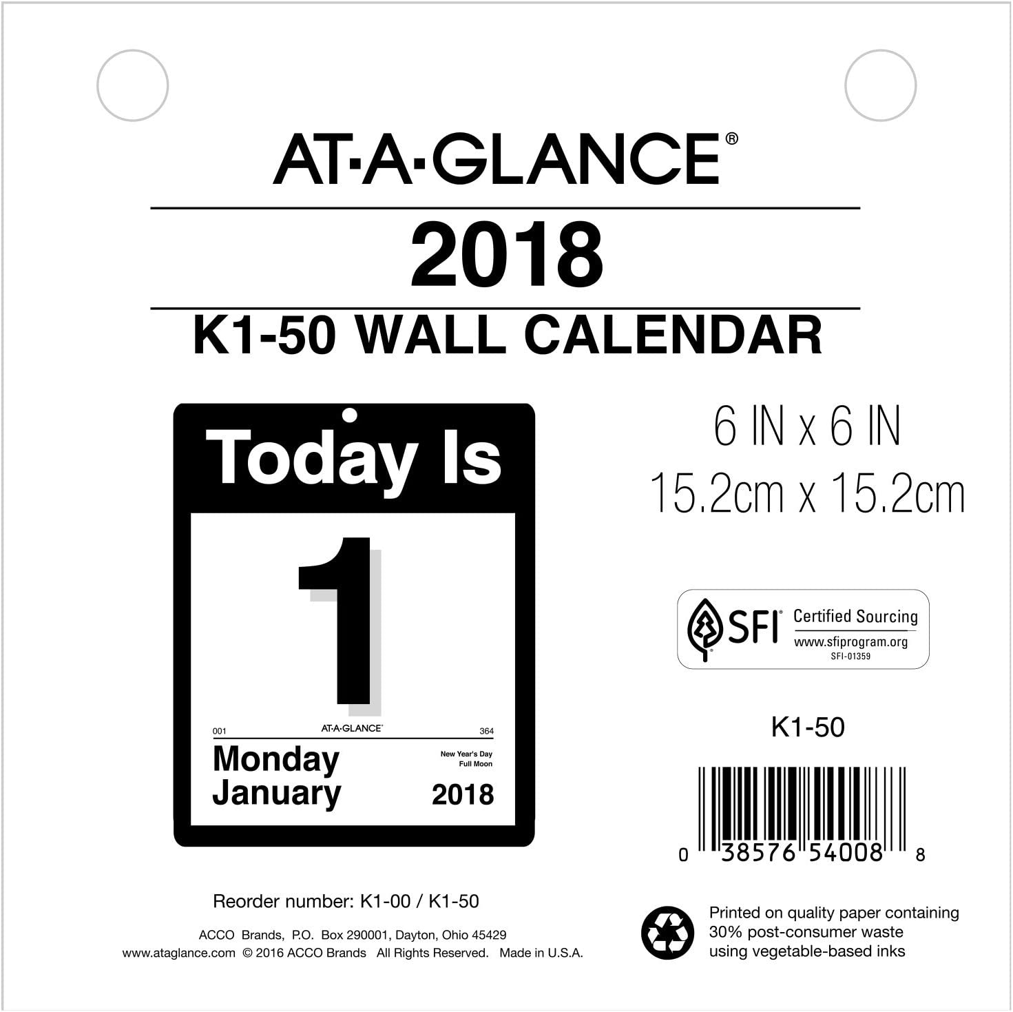 "AT-A-GLANCE Daily Wall Calendar Refill, January 2018 - December 2018, 6"" x 6"", ""Today Is"" Design (K150)"
