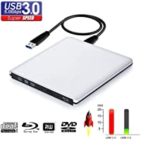 External Blu ray DVD CD Drive Burner,USB 3.0 Portable 3D 4K Blu-Ray DVD Player Writer Reader Disk for Laptop Notebook PC…