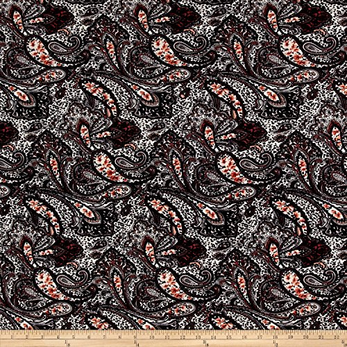 Black White Paisley Fabric - 8