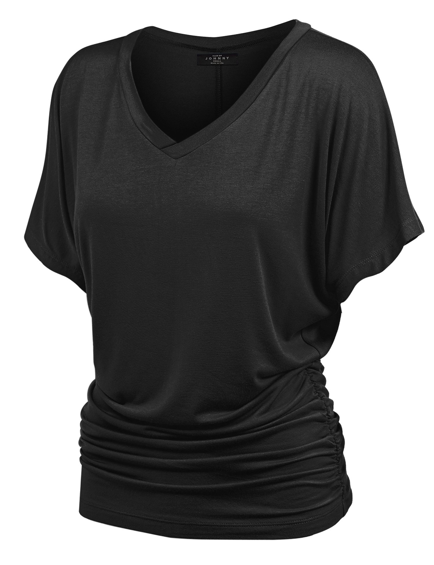 Made By Johnny WT1037 V Neck Short Sleeve Dolman Top with Side Shirring L Black