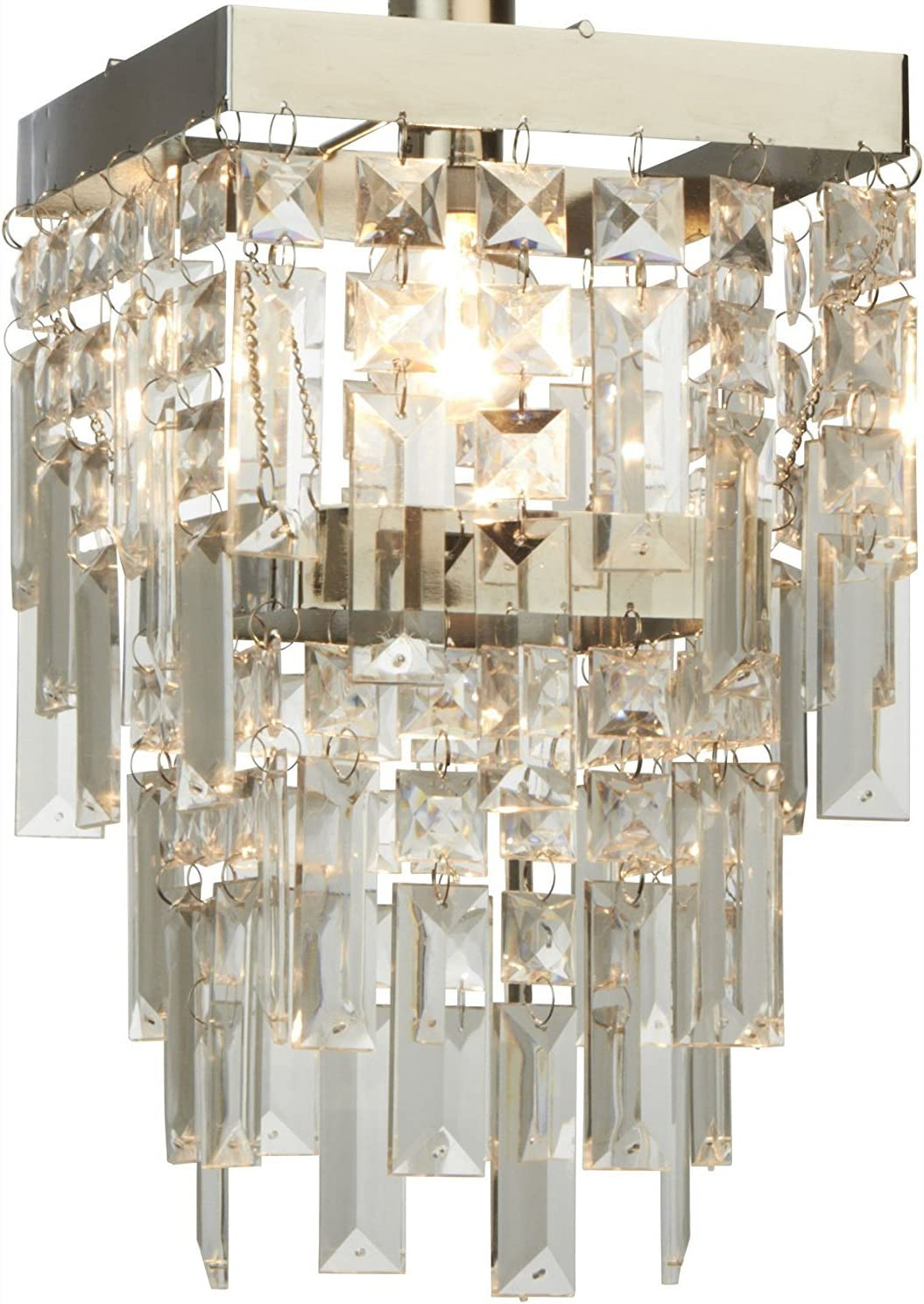 Dove Mill Lighting Elegant Darcey 2 Tier Square Chandelier Style Acrylic Droplet Ceiling Light Shade Pendant Clear Chrome Amazon Co Uk Kitchen Home