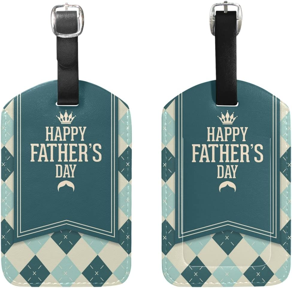 Chen Miranda Happy Fathers Day Luggage Tag PU Leather Travel Suitcase Label ID Tag Baggage claim tag for Trolley case Kids Bag 1 Piece