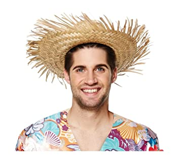 STRAW BEACHCOMBER HAT HAWAIIAN LUAU PARTY SUMMER FANCY DRESS COSTUME ACCESSORY