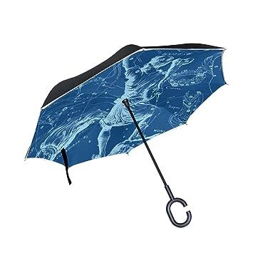 jstel doble capa puede constelaciones paraguas coches Reverse resistente al viento lluvia paraguas para coche al
