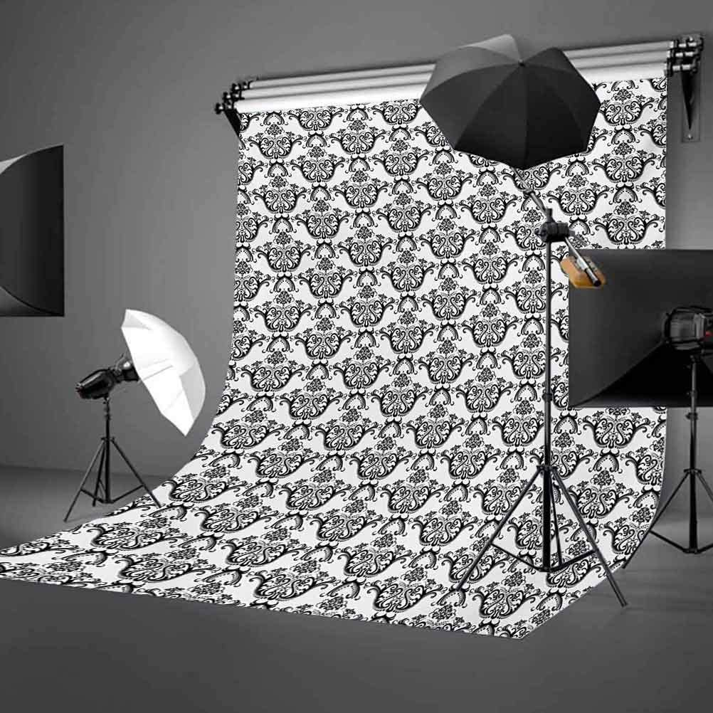 10x12 FT Backdrop Photographers,Monochrome Damask Leaves Repeating Curls with Little Dots Rococo Revival Influences Background for Child Baby Shower Photo Vinyl Studio Prop Photobooth Photoshoot