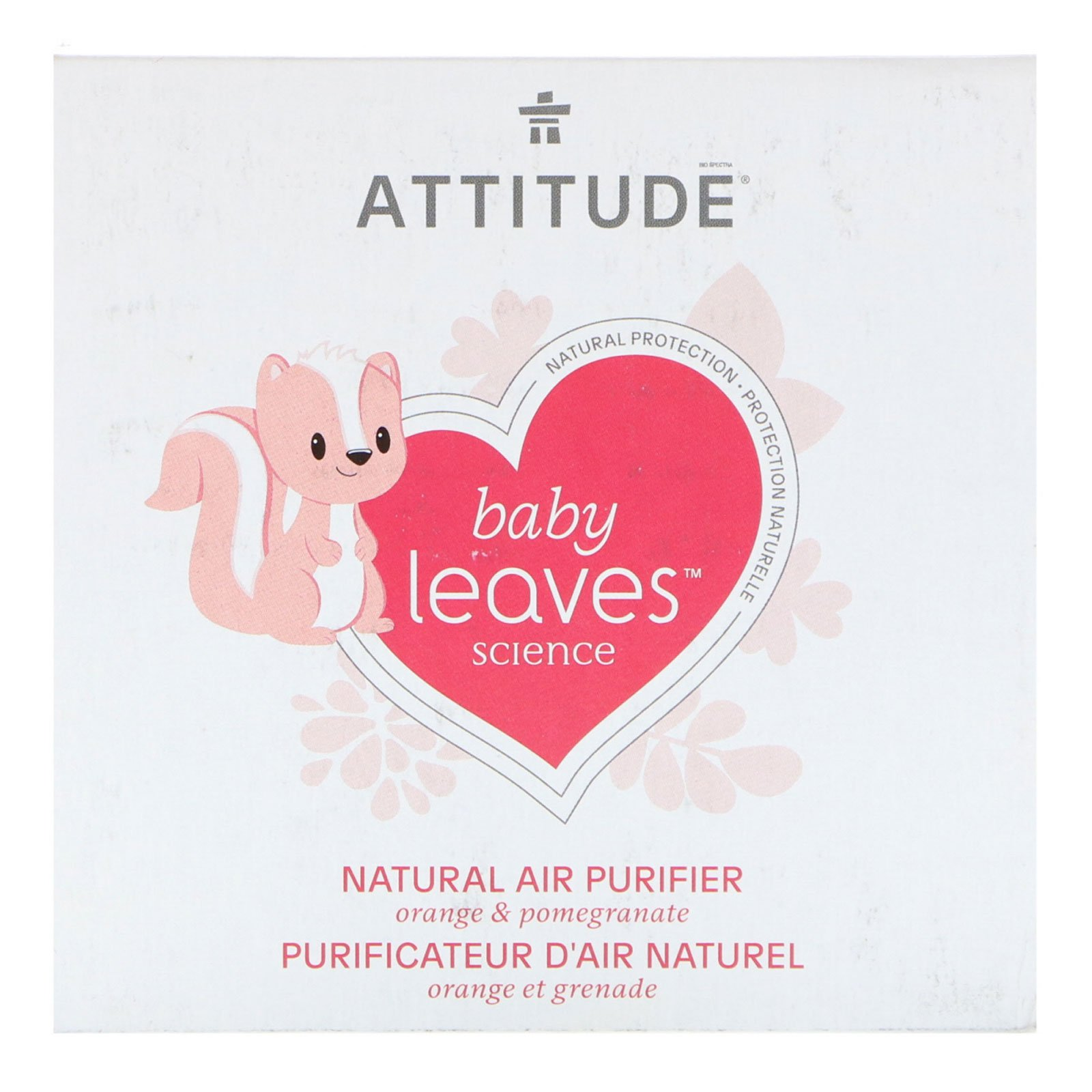 ATTITUDE Natural Air Purifier with Activated Carbon Filter | Traps Air Polluants and Contaminants, Neutralizes Stubborn Odors | Baby Leaves Science Collection | Orange & Pomegranate (8 oz)