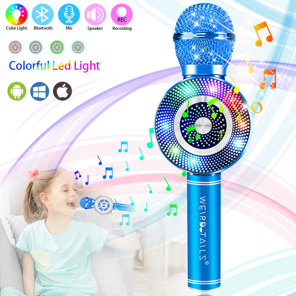 Wireless Karaoke Microphone, Handheld Bluetooth Microphone with Speaker and Light Echo Mic Portable Karaoke Player for Kid Adult Girl Home Party Singing Birthday Gift (Blue) by weird tails