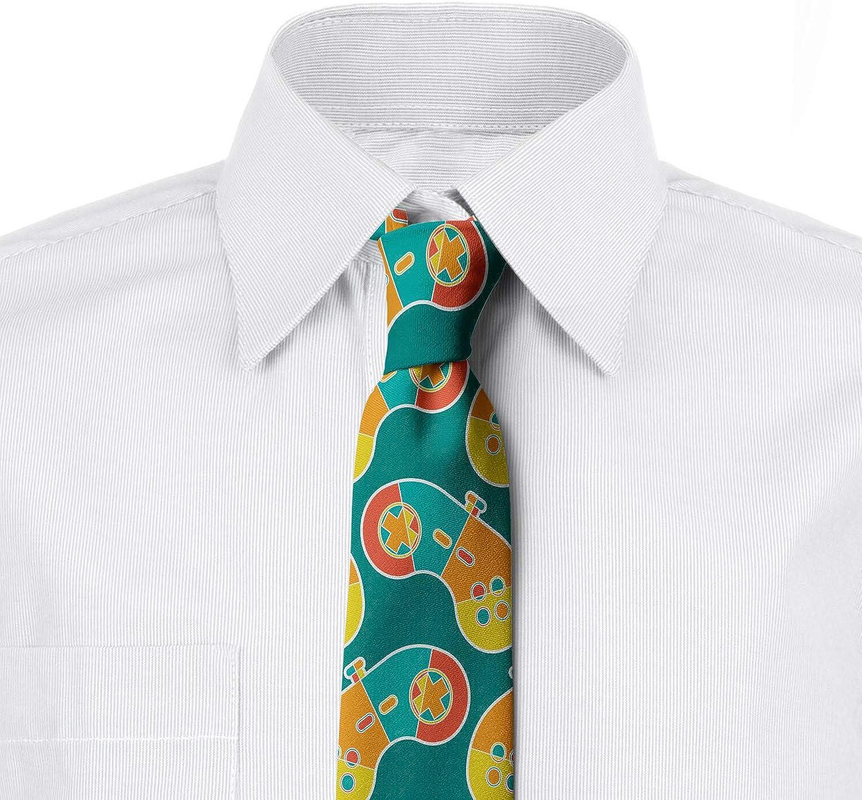 3.7 Dark Seafoam Multicolor Ambesonne Necktie Retro Colored Gamepad Art
