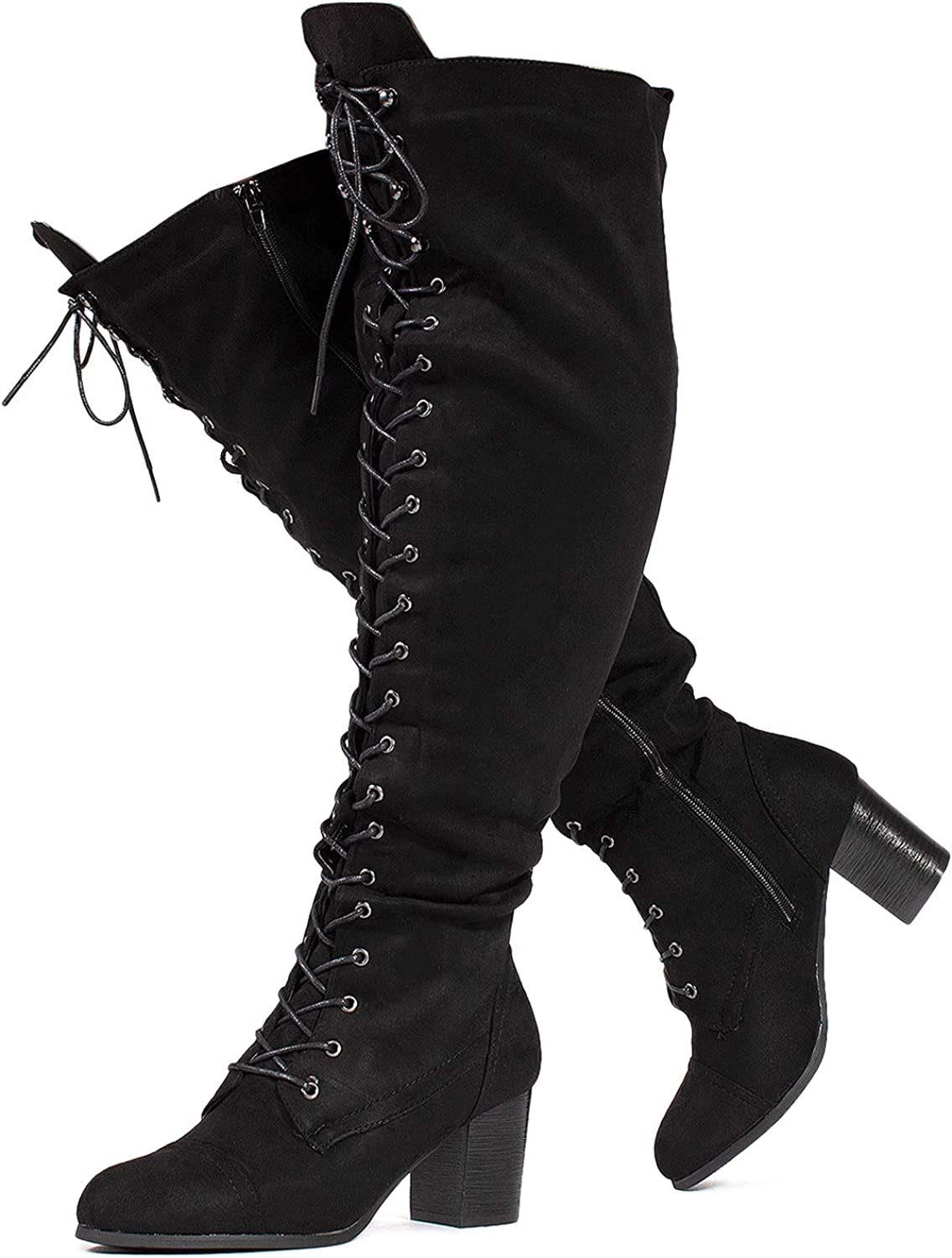 RF ROOM OF FASHION Women's Wide Calf Block Heel Lace Up Over The Knee Riding Boots