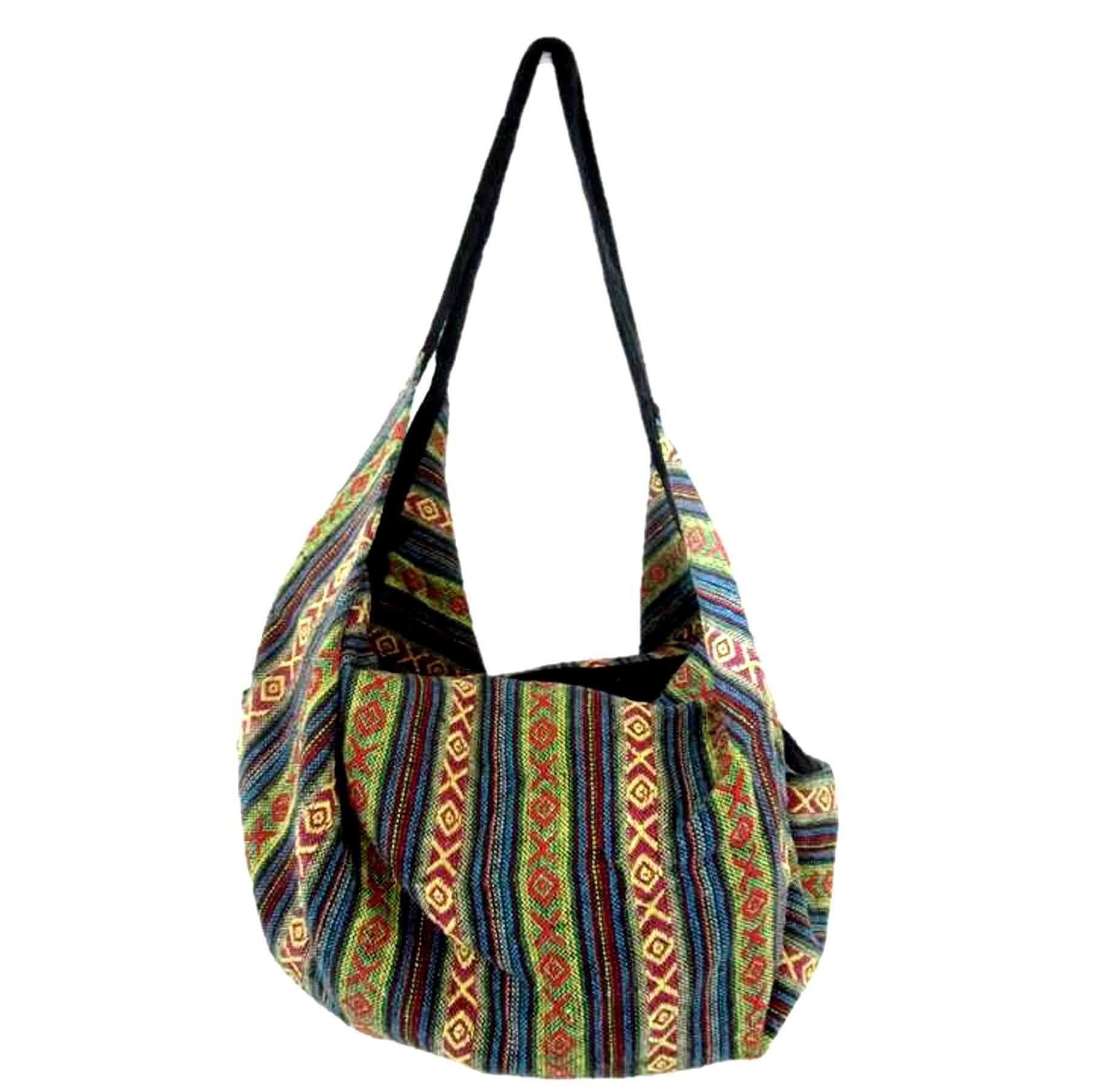 Large Aztec Yoga Convertible Crossbody Backpack Hippie Hobo Sling Bohemian Shoulder Bag (Safari Green)