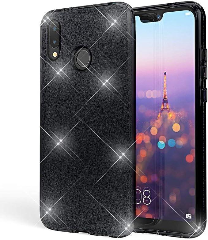 """Image ofCoovertify Funda Purpurina Brillante Negra Xiaomi Mi A2, Carcasa Resistente de Gel Silicona con Brillo Negro para Xiaomi Mi A2 (5,99"""")"""