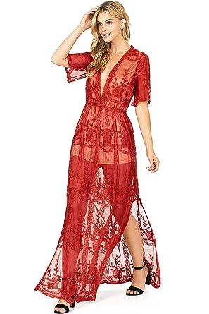 dd36f77451d Haute Monde Women's Special Occasion Low Neckline Sheer Lace Maxi Dress (S,  Dark Red