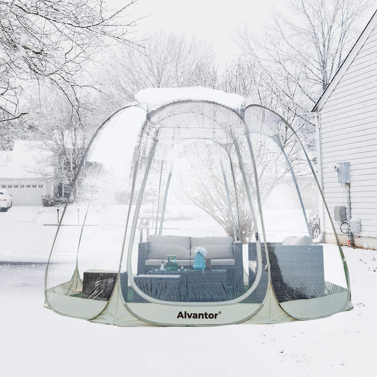 Alvantor Winter Screen House Room Camping Tent Canopy Gazebos 8-10 Person for Patios, Large Oversize Weather Pod, Premium Greenhouse Instant Pop Up Tent, Snow and Rain Protection Beige 12 12