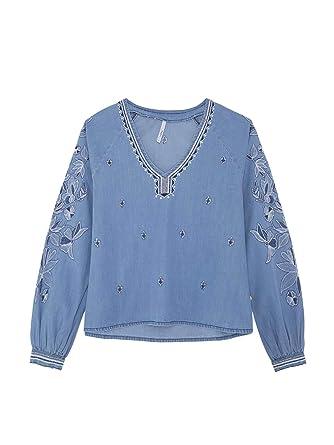 Pepe Jeans Chemisier Ginger Bleu Femme: : Vêtements
