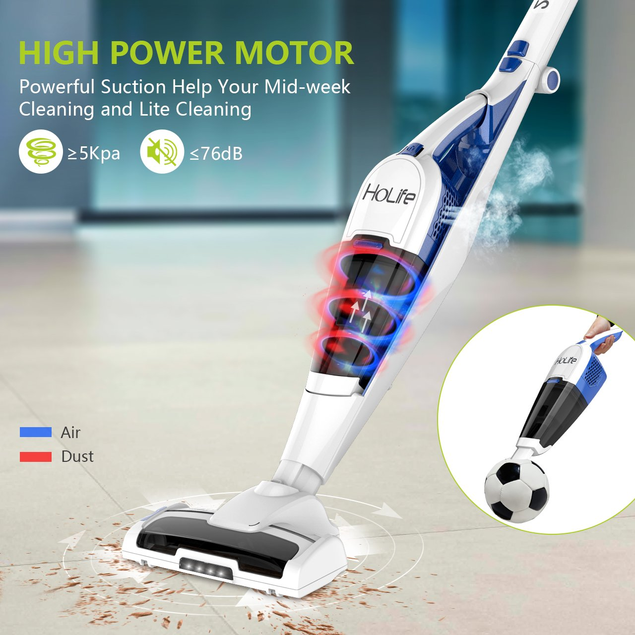 Amazon.com   Vacuum Cleaner, HoLife 2 In 1 Upright Handheld Vacuum Cordless  Rechargeable Bagless Stick With LED Light