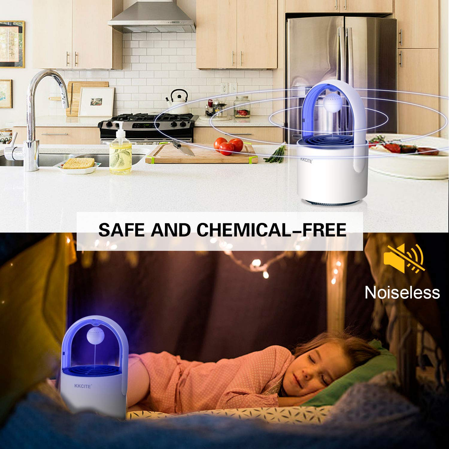 Child Safe Non-Toxic UV LED Sticky Glue Boards Trap Even The Tiniest Flying Bugs Electric Mosquito Insect Killer//mosquito trap KKCITE Original Indoor Insect Trap No Zapper Suction Fan