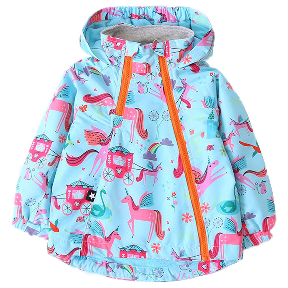 ZPW Little Girls' Cute Cartoon Printed Rain Jacket with Fleece Lined