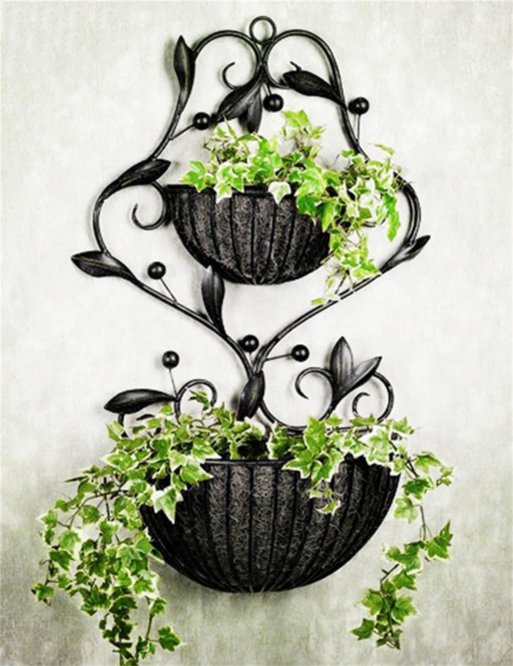 European - Style Garten Eisen Blumentopf Regal, Wandhänge Töpfe Regal, Indoor Wohnzimmer Blumenregal, Wände Hängende Orchidee Korb, Ecke Inhaber Shelf ( farbe : Schwarz )