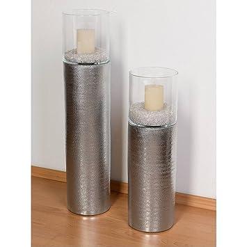 Deko Saule Boden Windlicht H 80cm D 17 5cm Metallic Silber