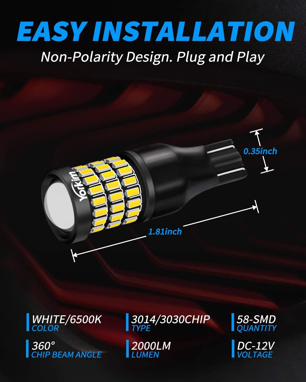 6500K White 921 led Backup Lights T15 LED Bulb 906 904 902 W16W 921 912 Reverse Lights Yorkim 921 LED Bulb 912 Led Reverse Light Super Bright 3014 3030 58-SMD Chipsets Error Free Pack of 2
