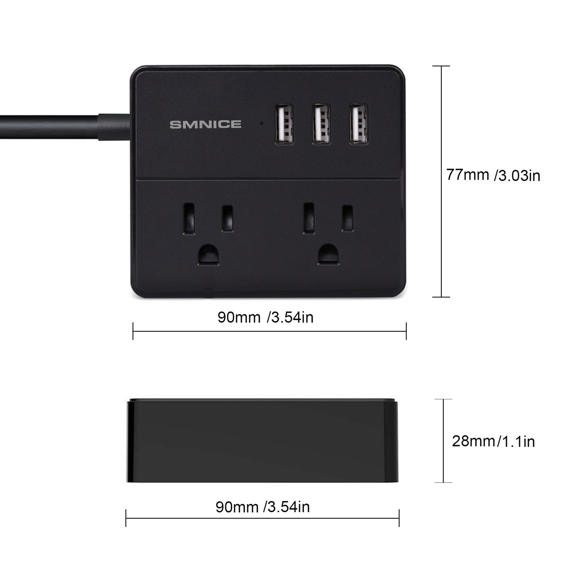 Portable Desktop Power Strip,SMNICE Travel Power Strip with 3 USB Smart Charging Station 2 Outlets and Child Safety Cover for Home Travel,5Ft Cord-BLACK (Black) by SMNICE (Image #2)