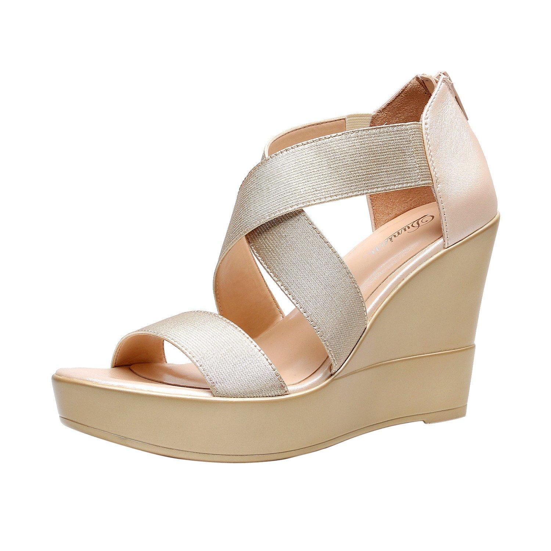 DUNION Women's AWE Zip Closure Crisscross Straps Platform Wedge Sandal Wedding Party Dress Shoe,Gold Awe,7 B(M) US