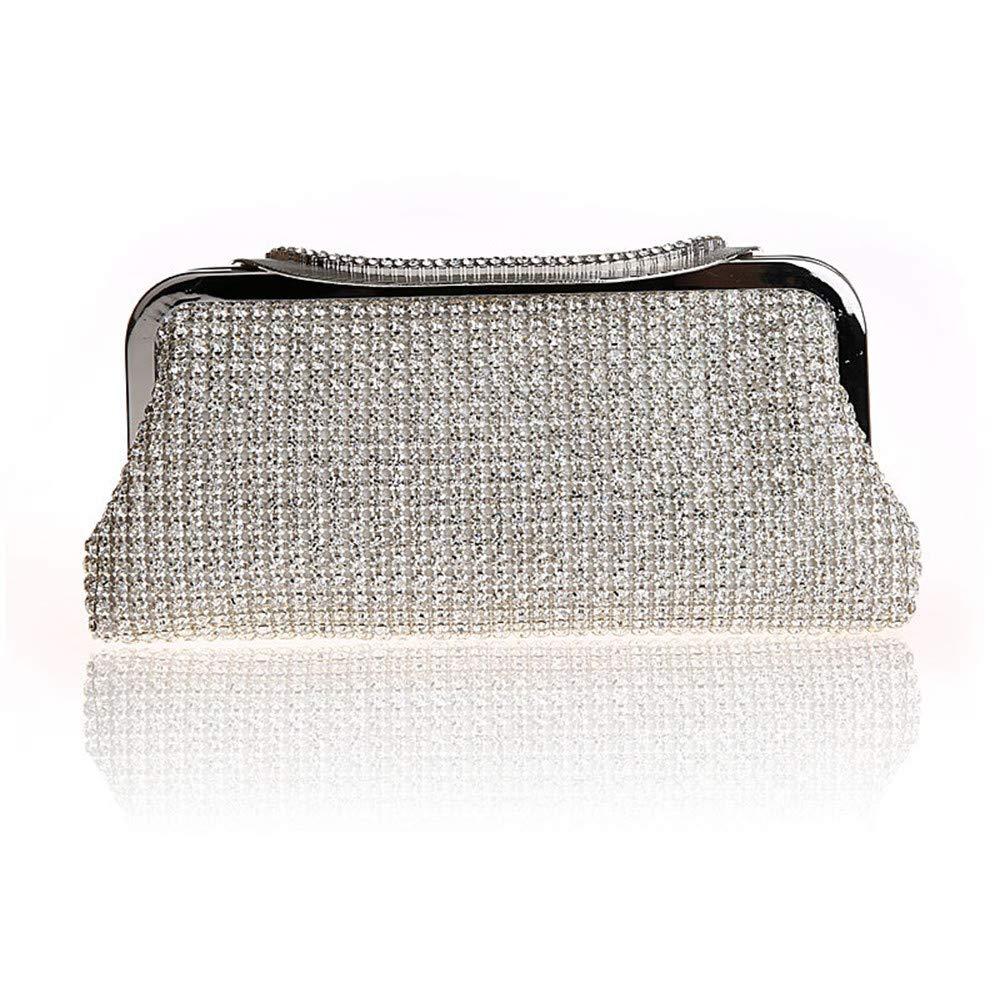 Liuxiaomiao dam clutch bag party skinande strass kristall clutch plånbok dam aftonväska för brudtärna bröllop brun handväska födelsedag-middag-party (färg: Guld) SILVER