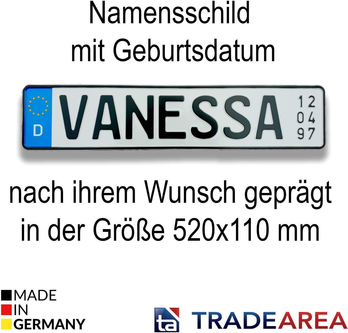 TA TradeArea Plaque dimmatriculation Personnalisable avec Date de Naissance
