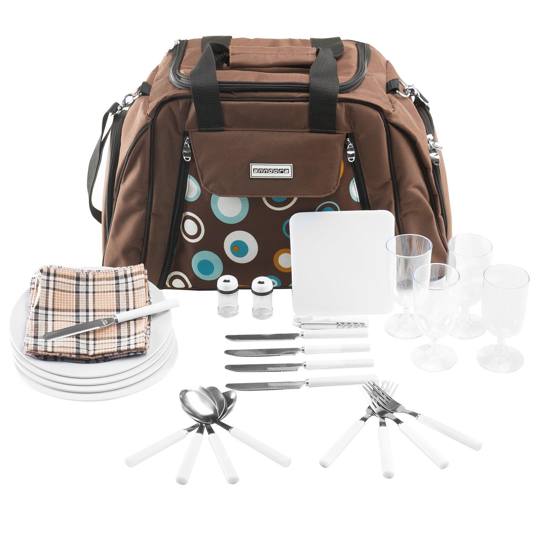 Picnic bolso de transporte + accesorios 29piezas–color a elegir, azul-naranja (Azul) - TW-3655-228 INSPIRION