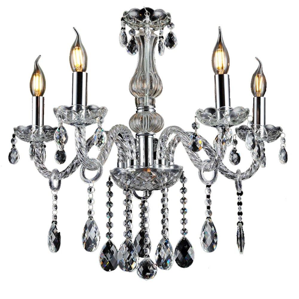 SAILUN® Kristall Kronleuchter Klassisch Hängeleuchte Transparent Pendelleuchte Deckenleuchte antik Messing Kristall Lüster 5-flammig E14 (5 Lichter)
