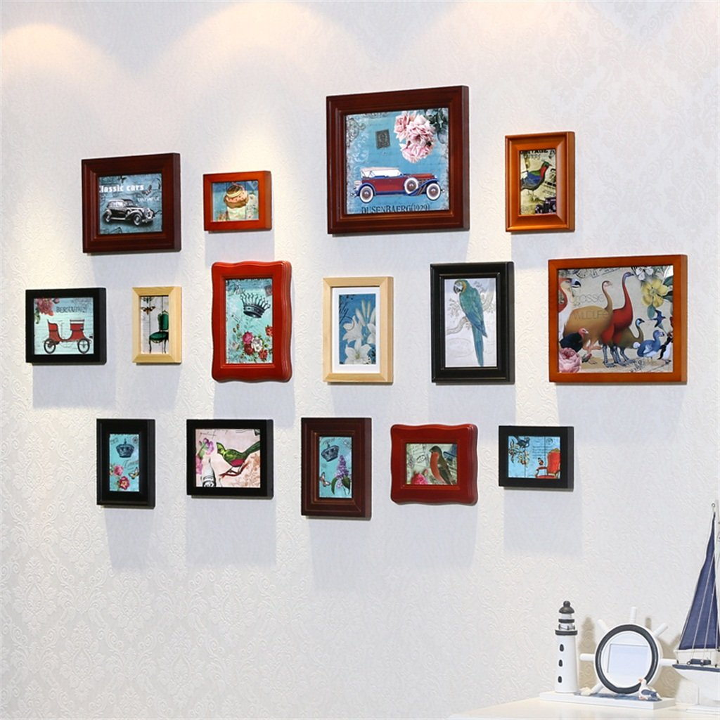 ALUS- A Set of 15 Pieces Solid Wood Combination Photo Frame Wall European Living Room Bedroom Corridor Decoration Wall Stickers Modern Minimalist Fashion Creative