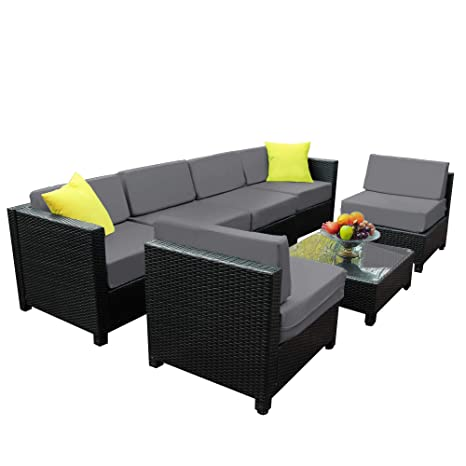 Mcombo Aluminum Patio Furniture Sectional Set Outdoor Wicker Sofa Black  Rattan Chair Cozy Converstaion Set with Thick Cushions (6Inch) and Table ...