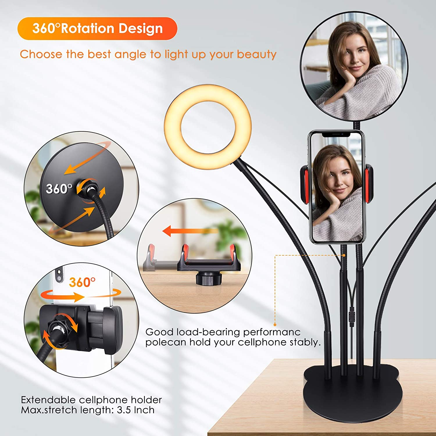 Double Ring Light with Stand & Phone Holder, Ring Light for Desk Dimmable Selfie Ring Light for Phone Laptop Live