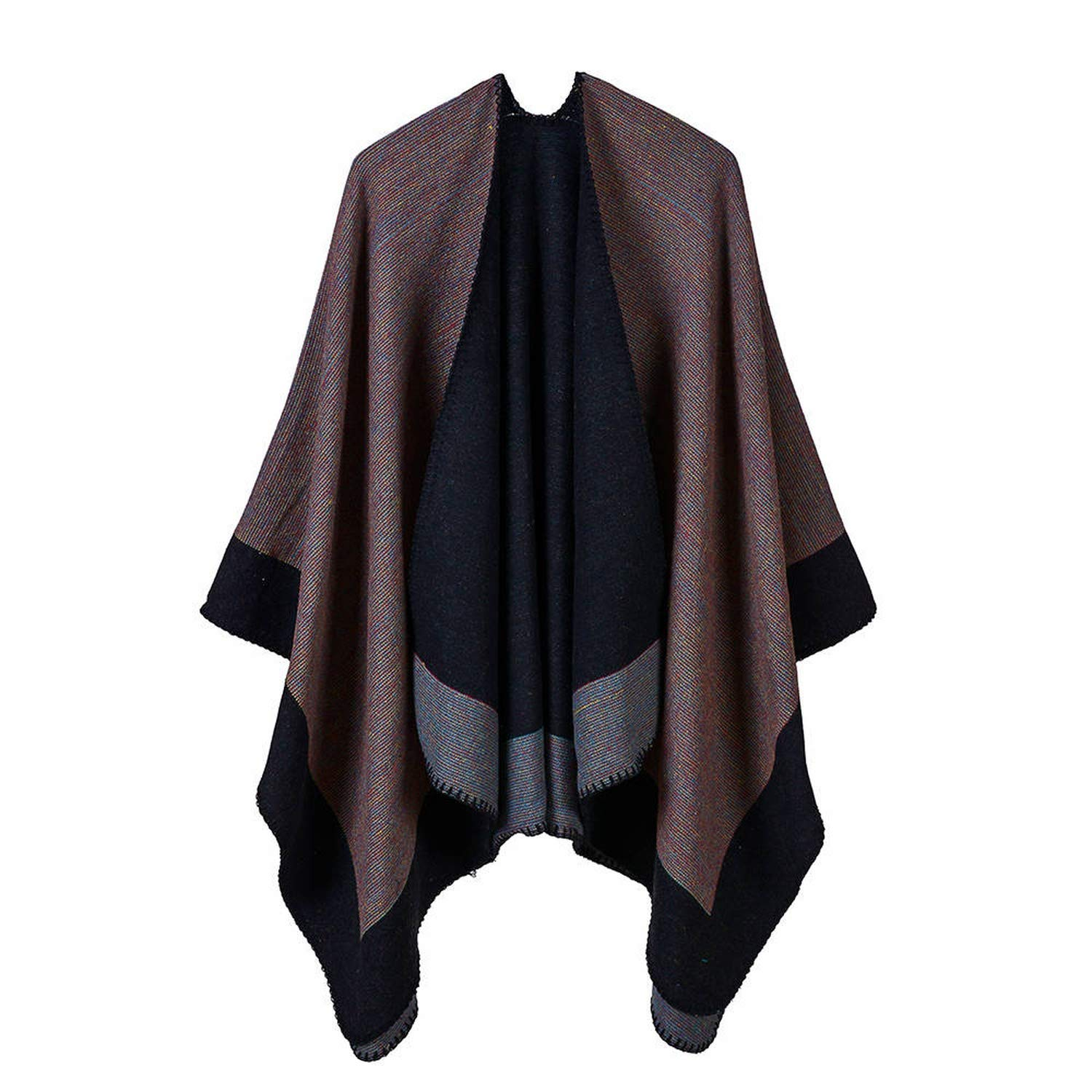Women Poncho Fluorescent Stripe Warm Shawl Scarf Show Concert Jacquard Chic All Match, 4 Straight the
